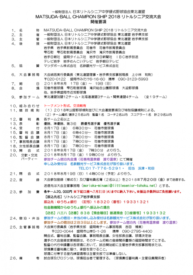 マツダボールチャンピオンシップ開催要項